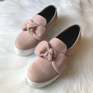 Rebecca Minkoff Stacey blush pink suede bow shoes